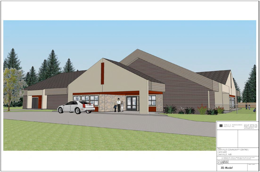 A 3D rendering of what the new hall and daycare would look like from a different angle