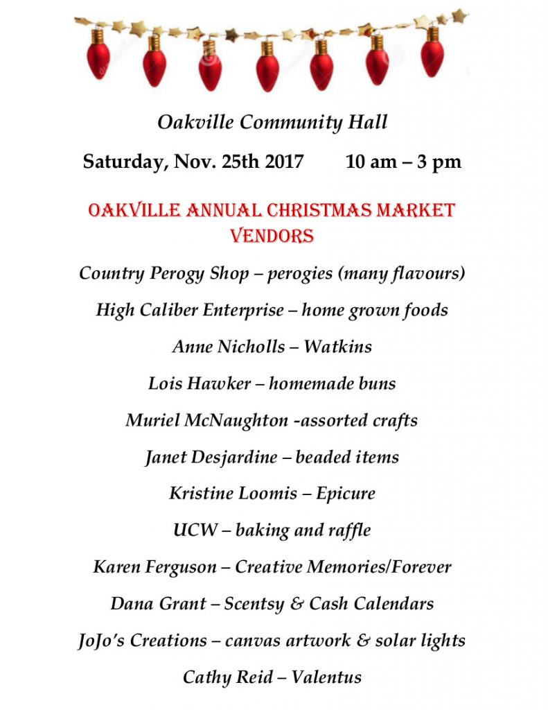 Oakville Annual Christmas Market Vendor List part 1