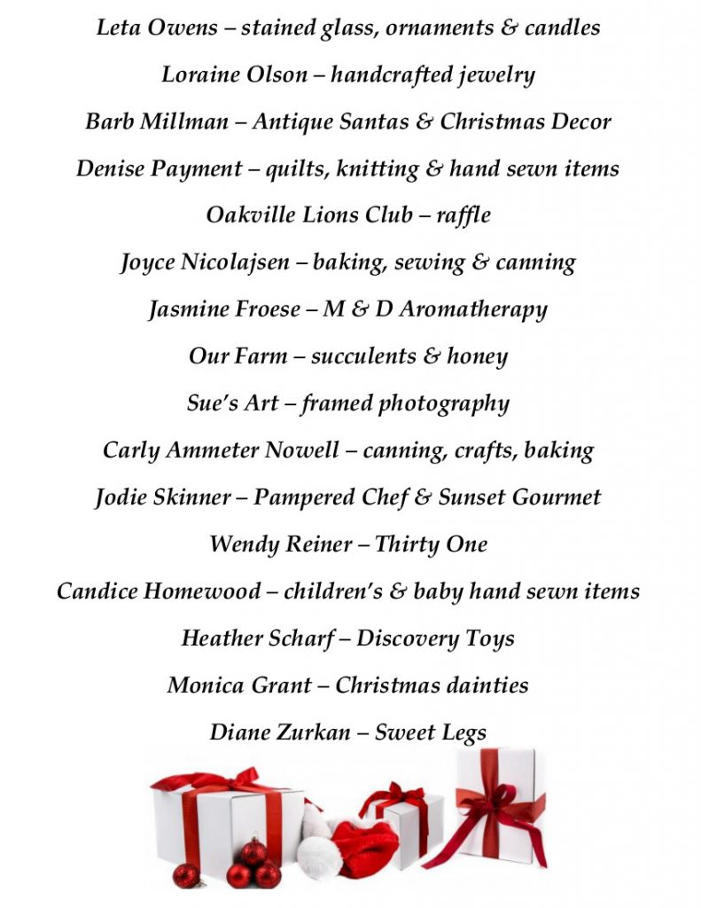Oakville Annual Christmas Market Vendor List part 2